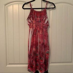 Pink Spaghetti Strap Peacock Feather Dress Size M